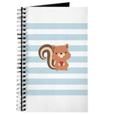 Squirrel on Baby Blue and White Stripes Pattern Jo