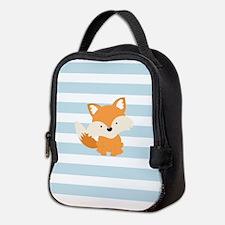Baby Fox on Baby Blue and White Stripes Pattern Ne