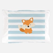 Baby Fox on Baby Blue and White Stripes Pattern Pi