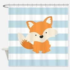 Baby Fox on Baby Blue and White Stripes Pattern Sh