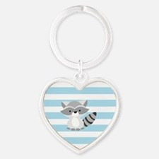 Raccoon on Baby Blue and White Stripes Pattern Key