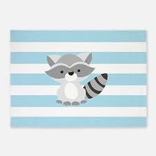 Raccoon on Baby Blue and White Stripes Pattern 5'x