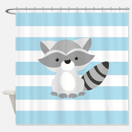 Raccoon on Baby Blue and White Stripes Pattern Sho