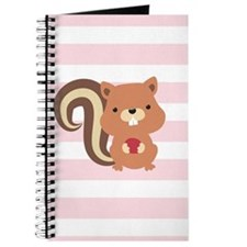 Squirrel on Pastel Pink and White Stripes Pattern