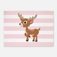 Fawn, Baby Deer on Pastel Pink and White Stripes P