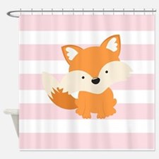 Baby Fox on Pastel Pink and White Stripes Pattern
