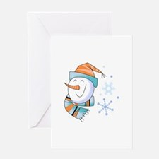 SNOWMAN AND SNOWFLAKES Greeting Cards