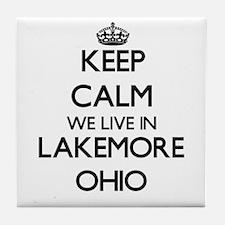 Keep calm we live in Lakemore Ohio Tile Coaster