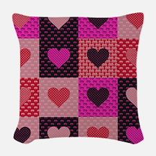Hearts Quilt Woven Throw Pillow
