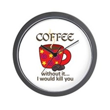 WITHOUT COFFEE Wall Clock