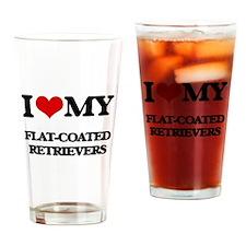 I love my Flat-Coated Retrievers Drinking Glass