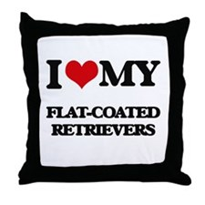 I love my Flat-Coated Retrievers Throw Pillow