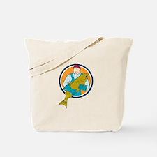 Fishmonger Salmon Fish Circle Cartoon Tote Bag