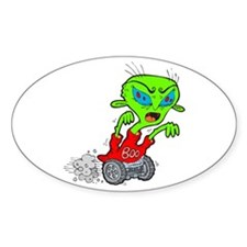 Creepy Halloween Alien Rolling Oval Decal