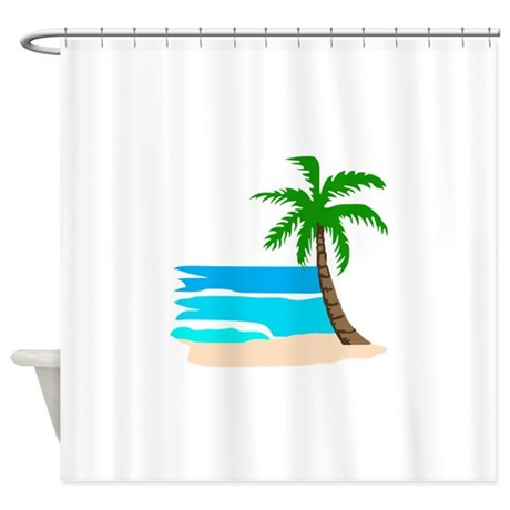 palm tree beach shower curtain by greatnotions17