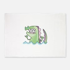 ALLIGATOR IN WATER 5'x7'Area Rug