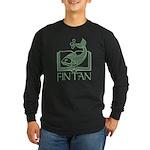 Fin Tan Green Long Sleeve Dark T-Shirt