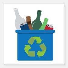 "Full Recycle Bin Square Car Magnet 3"" x 3"""