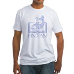 Fin tan lt blue line Fitted T-Shirt