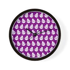 Purple and White Cute Ladybugs Pattern Wall Clock