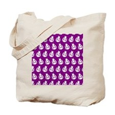 Purple and White Cute Ladybugs Pattern Tote Bag