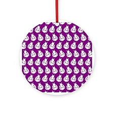 Purple and White Cute Ladybugs Pa Ornament (Round)