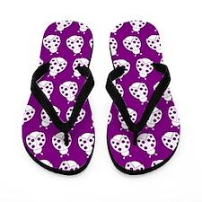 Purple and White Cute Ladybugs Pattern Flip Flops