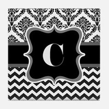 Cool Chevron demask with initial C Tile Coaster