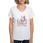 Fin Tan red Women's V-Neck T-Shirt