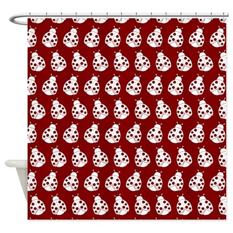 Red And White Cute Ladybugs Pattern Shower Curtain By Bimbys8