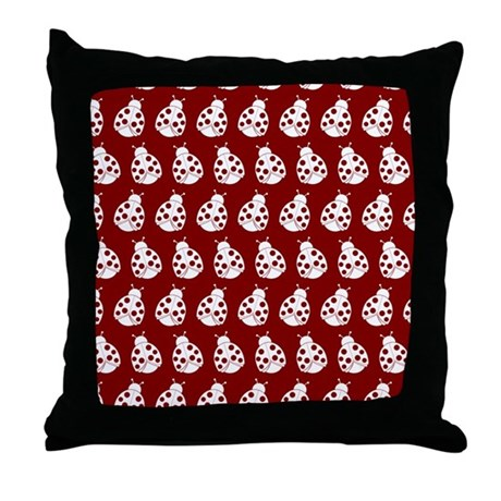 Red and White Cute Ladybugs Pattern Throw Pillow by bimbys8