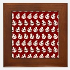 Red and White Cute Ladybugs Pattern Framed Tile