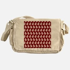Red and White Cute Ladybugs Pattern Messenger Bag