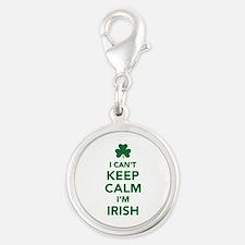 I can't keep calm I'm irish Silver Round Charm