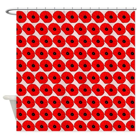 Big Red Poppy Flowers Pattern Shower Curtain By Bimbys8