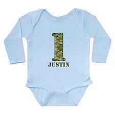 Green Camo 1st Birthda Long Sleeve Infant Bodysuit