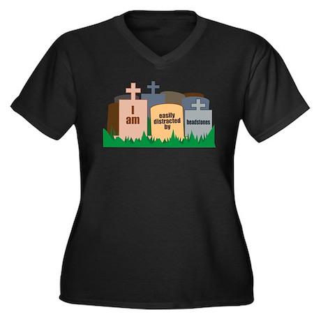 Distracted II Women's Plus Size V-Neck Dark T-Shir
