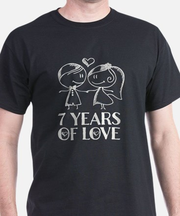 7th Anniversary chalk couple T-Shirt