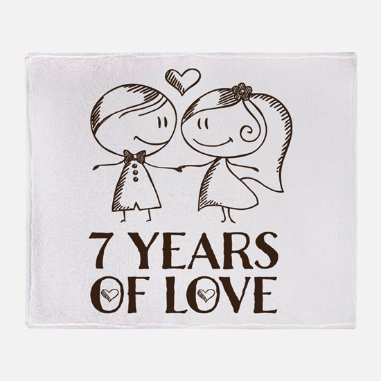7th Anniversary chalk couple Throw Blanket