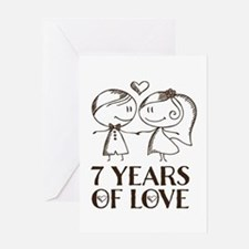 7th Anniversary chalk couple Greeting Card