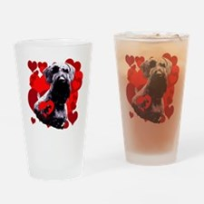 giant schnauzer natural ear Drinking Glass