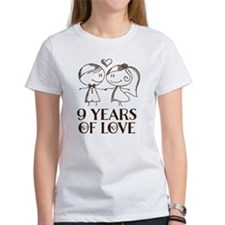 9th Anniversary chalk couple Tee
