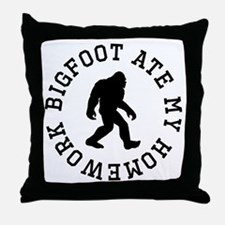 Bigfoot Ate My Homework Throw Pillow