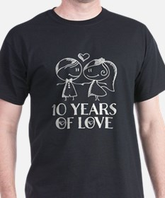 10th Anniversary chalk couple T-Shirt