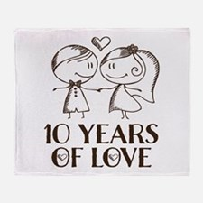 10th Anniversary chalk couple Throw Blanket