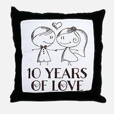10th Anniversary chalk couple Throw Pillow