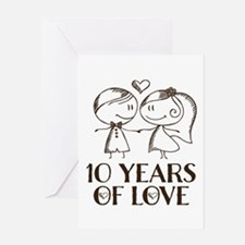 10th Anniversary chalk couple Greeting Card