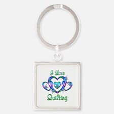 I Love Quilting Square Keychain