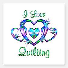 "I Love Quilting Square Car Magnet 3"" x 3"""