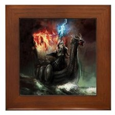 Dragon Viking Ship Framed Tile